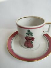 Coffee cup and saucer La Mode  Russian Imperial hard porcelain new Pourpre color