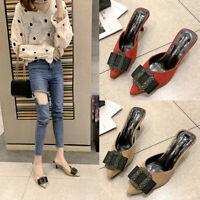 Women Pointed Toe Smart Sandals Ladies Mid Kitten Heels Mules Slip On Work Shoes