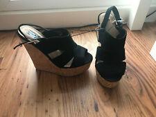 Black Faux Suede Cork Platform Wedge Strappy High Sling Back Sandle Shoes  3