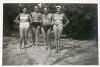 Beach Group, Guys Trunks, Swimsuits, Vintage Photo Original Old Snapshot