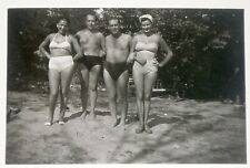 Beach Group, Guys Trunks, Swimsuits, Vintage Photo Original Old Snapshot