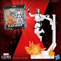 Black Widow Deluxe Marvel Legends White Costume Action Figure w Stand IN STOCK