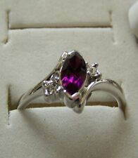SIZE:6.5_OVAL ~ AMETHYST ~ 18KGP ~ WHT~ GOLD ~ RING  -- (GREAT_CHRISTMAS_GIFT)