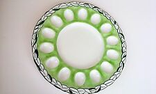 INTRADA ~ VINTAGE GREEN & WHITE DEVILED EGG PLATTER~MADE IN ITALY