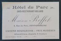 Carte de visite HOTEL DU PARC ROFFET FONTAINEBLEAU billard café visit card
