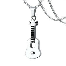 Punk Music Guitar Pendants Cremation Keepsake Memorial Ash Urn Holder Necklace