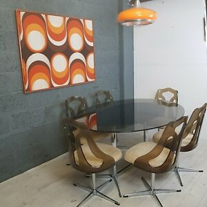 70s Chromcraft Dining table & 6 swivel perspex chairs vintage retro steel smoked