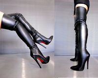 CQ COUTURE OVERKNEE HIGHEST HEELS BOOTS STIEFEL STIVALI LEATHER BLACK NERO 40