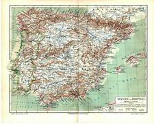 Alte Landkarte / Map: Spanien und Portugal Original 1908 vintage old spain porto