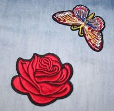 Red Rose and Butterfly Embroidered Fabric Applique, Sew, Iron On Clothes Patch