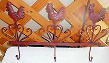 """ROOSTER WALL RACK~3 Hooks~Metal~Antiqued Dark Red~18&1/4"""" By 10&1/2""""~FREE SHIP"""