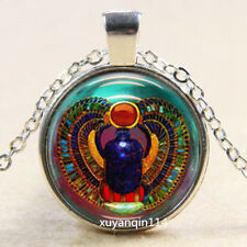 Egyptian style Photo Cabochon Glass Tibet Silver Chain Pendant Necklace O