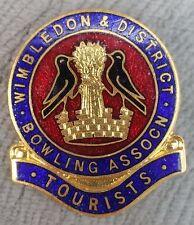 Vintage Wimbledon & District Bowling Association Tourists Enamel Pin Badge