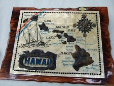 Vintage HAWAII  Wall Clock  Works Retro Capiz Shell Raised Decor