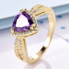 Graceful Trillian Purple Crystal Gold Filled Women Lady Wedding Ring Size 7-10