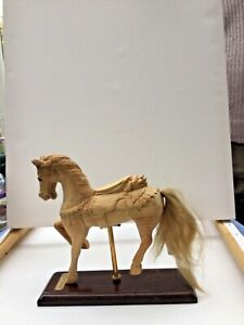 HORSE CANTERING hand crafted CARVED Solid WOOD