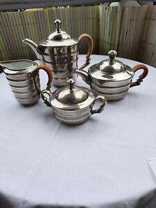 4tlg. Kaffee- und Teekanne Rosenthal versilbert mit Rattanhenkel