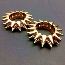 Stretchy Spike Bracelet-Pair [2] Punk Rock Stretch Stud Bangles-Gold Tone