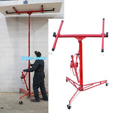 11FT Drywall Lift Panel Plaster Board Hoist Jack Rolling Caster Lifter Lockable