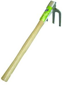Stainless 3 prong Rake,38.5cm Handle,for weeding, breaking up compacted soil