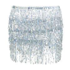 Women Hawaii Sequin Glitter Fringe Tassel Beach Mini Skirt Dress Party Dancewear