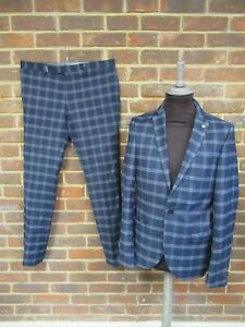 Twisted Tailor Men's Blue Checked 2-Piece Suit Sizes : W34R/ 38R   2141
