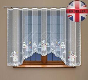 """Christmas window net curtain with curtain tape 150x300cm (59""""x118"""") SNOWMAN"""
