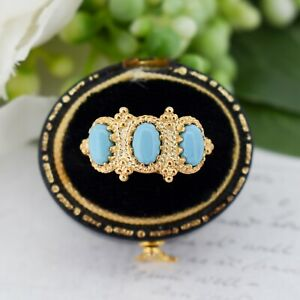 Antique Style Turquoise Three Stone Gold on Silver Ring Victorian Inspired