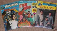 3 VINTAGE STAR TREK BOOK RECORD SET FACTORY SEALED 1975 Captain Kirk Mr Spock