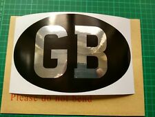 Large Classic Vintage style Chrome and Black 'GB' Sticker ideal for Vehicles etc