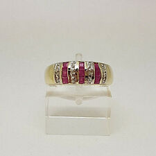 Lovely 9ct Gold Ruby and Diamond Band Ring.  Goldmine Jewellers.