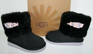 UGG Australia 1001672 BK 10 Toddler Ellee Suede Sheepskin Boots Shoes Black 10