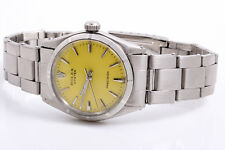 Vintage Rolex Oyster Precision Stainless Steel Watch - Yellow Dial - Oyster Band