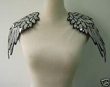 EP77 Mirror Pair Winged Epaulet Shoulder Sequined Applique Silver Chic/Punk/Diy