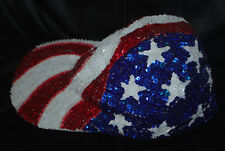 Women's USA Stars and Stripes Sequin Bling Hat (One Size Fits All)