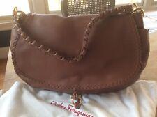 104a309b500e Salvatore Ferragamo Braided Strap Shoulder Lorelle Bag Camel Brown Retails   1550