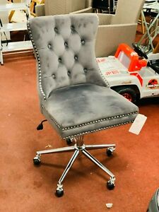 Princess Velvet Handleback Office Chair - Grey