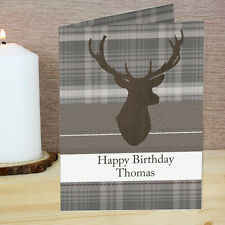 Personalised Highland Tartan Stag Card - Add Any Message, Birthday, Christmas