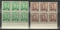 New Zealand 1941 SG 628-9 KGVI Provisionals Blocks of 6 VF UMM MNH