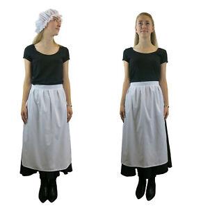 Ladies Edwardian Victorian Simple Apron - Maids Fancy Dress Costume UK STOCK