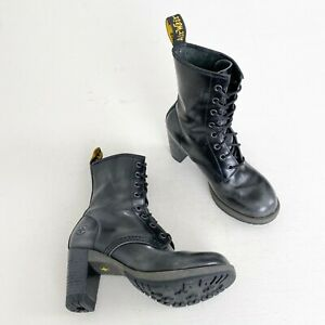 Dr. Martens Black Grey Rub Off Darcie Heeled Lace Up Ankle Combat Boot Size 6