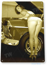 Tin Sign Work Heels Pin-Up Hot Rod Girl Auto Shop Garage Cave A010