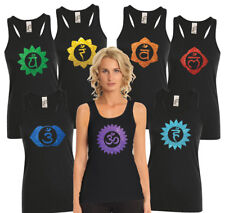 Glitter Chakras. Racer back black Tank top with Choose your favourite chakra.