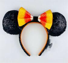 New Disney Park Minnie Mouse Candy Corn Bow Halloween Ears Black Orange Headband