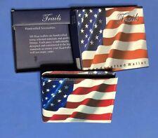 Trails Handcrafted WALLET Red White & Blue Billfold Organizer American Flag~NIB!