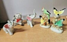 LOT OF 5 VTG MADE IN JAPAN NIC NAC ANIMAL FIGURINES CATS ELEPHANT BIRDS