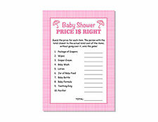 24 Baby Shower Games Girl Pink Plaid Price Is Right Cards Party