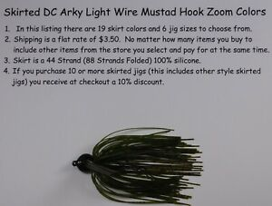 Bob4Bass Light Wire DC Arky Skirted Jig w/Mustad Hook Zoom Colors