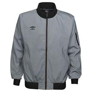 Umbro Men's Full Zip Reflective Jacket, Silver Reflective