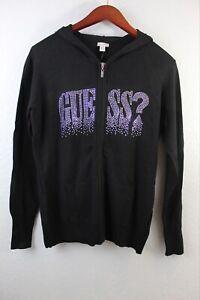 Guess Women's Mylene Jet Black Hoodie Sweater Size XL